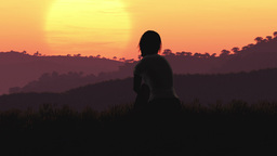 4K Young Women Sitting on a Hilltop in a Summer Sunset Sunrise 3D Animation 7 st Footage