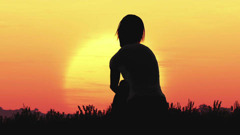 Young Women Sitting on a Hilltop in a Summer Sunset Sunrise 3D Animation 34 styl Footage