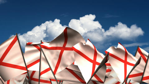 Waving Alabama State Flags Animation
