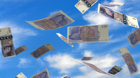 Falling English Pound stock footage