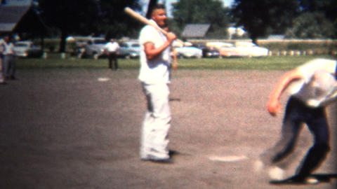(8mm Vintage) 1954 Neighborhood Friendly Baseball Playing Park. Iowa, USA Footage
