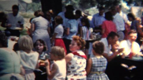 (8mm Vintage) 1954 Community Summer Picnic. Iowa,USA Footage