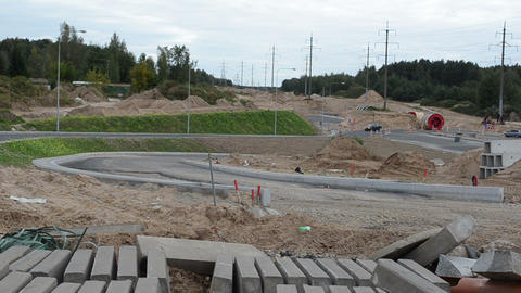 concrete road and pavement part road construction site cars Footage