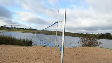 Volleyball Ground Net Sandy Lake Shore Landscape Autumn stock footage