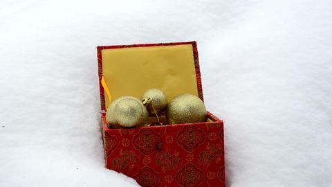 christmas tree toys retro colorful box winter snow hand take Footage