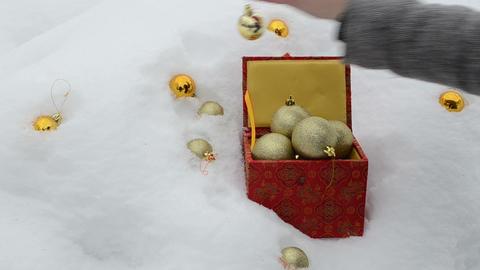 hand take glossy christmas toys winter snow retro box Footage