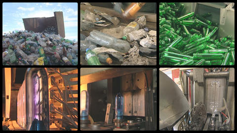 collage montage pet bottle recycle production industrial factory Footage