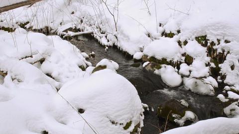 creek forest running between stones spring snow left winter Footage