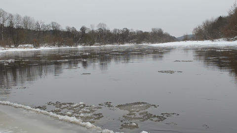 forest river fragment ice floe floating water winter Footage