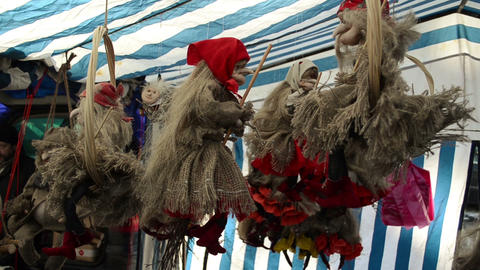 fair exposition of witches on brooms of straw tow and materials Footage