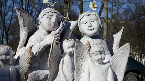 Nice Crockery Clay Angels Sold Fair Market Bird Figures stock footage