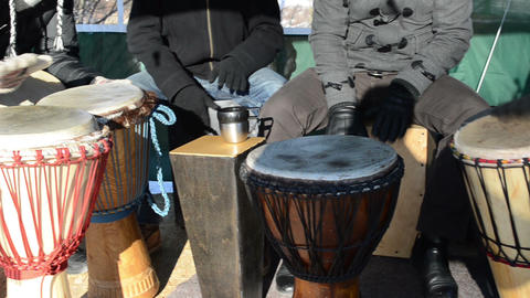 drummer musicians group play wooden hand made drum concert Footage