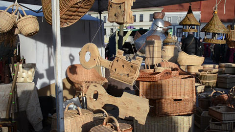 various wooden wicker decor objects sold outdoor market fair Footage