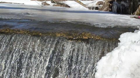 closeup waterfall ice edge water glance shine sun reflection Footage