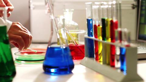 Laboratory CSI 77 investigating dolly Stock Video Footage