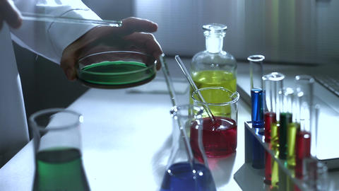 Laboratory CSI 185 investigating stylized Stock Video Footage