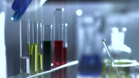 Laboratory CSI 201 investigating dolly stylized Stock Video Footage