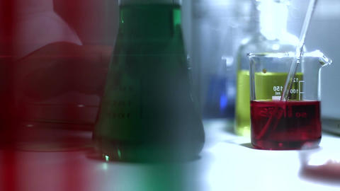 Laboratory CSI 203 investigating dolly stylized Stock Video Footage