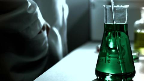 Laboratory CSI 237 investigating dolly stylized Stock Video Footage