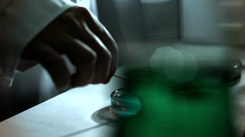 Laboratory CSI 241 investigating dolly stylized Stock Video Footage