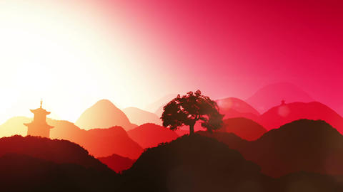 Magical Oriental Sunset over Mountains 02 Stock Video Footage