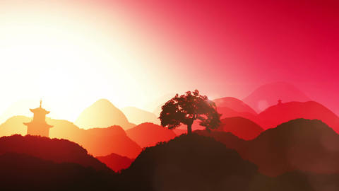 Magical Oriental Sunset over Mountains 02 Animation