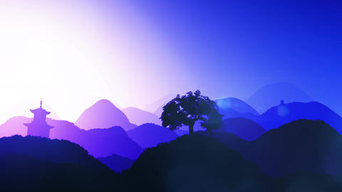 Magical Oriental Sunset over Mountains 04 Stock Video Footage