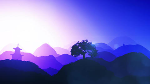 Magical Oriental Sunset over Mountains 04 Animation