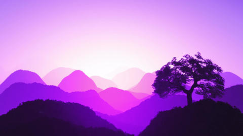 Magical Oriental Sunset over Mountains 06 Stock Video Footage