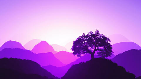 Magical Oriental Sunset over Mountains 06 Animation