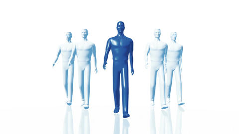 Men Walking 02 leader blue Animation