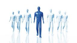 Men Walking 02 leader blue Stock Video Footage