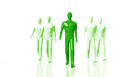 Men Walking 04 leader green Animation
