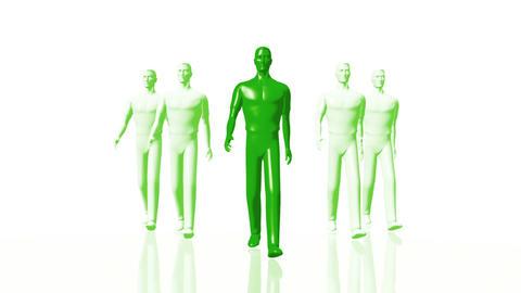 Men Walking 04 leader green Animation