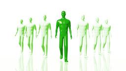 Men Walking 04 leader green Stock Video Footage