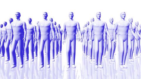 Men Walking 05 team blue Stock Video Footage