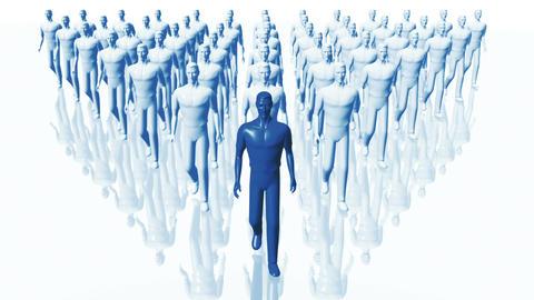 Men Walking 09 team and leader blue Animation