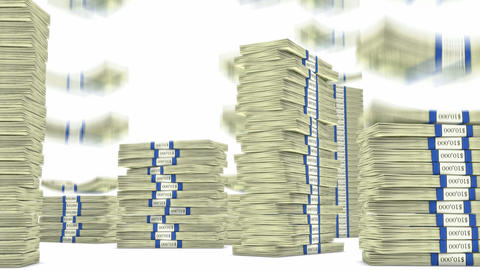 100 dollar bundles stacks falling down. Wealth and money Stock Video Footage