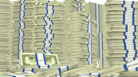 100 dollar bundles stacks falling down. Wealth and money Animation