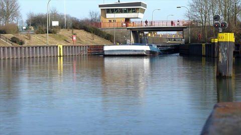 10669 ship leaves boat lift time lapse Stock Video Footage