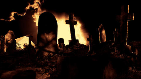 Graveyard cemetery halloween tomb evil scary horror ghost... Stock Video Footage