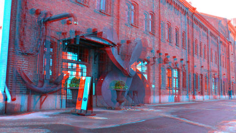 Stereoscopic 3D Helsinki 2 - marine cafeteria in downtown Stock Video Footage