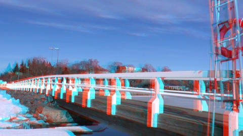 Stereoscopic 3D Helsinki 4 - wooden bridge in downtown Stock Video Footage
