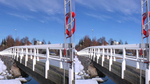 Stereoscopic 3D Helsinki 4 - wooden bridge in downtown Footage