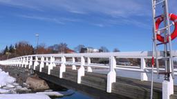 Stereoscopic 3D Helsinki 4 - wooden bridge in downtown Stock Video Footage