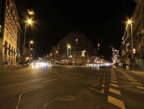 4K European City At Night Footage