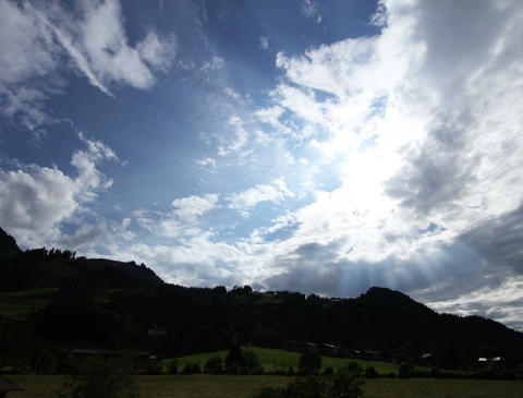 4K Fantastic Clouds Timelapse Mountains 02 godrays Stock Video Footage