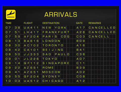 4K International Airport Timetable All Flights Get Cancelled ARRIVALS Animation