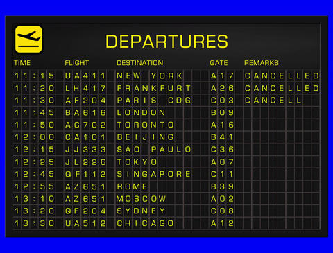 4K International Airport Timetable All Flights Get Cancelled DEPARTURES Animation
