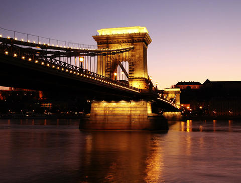 4K Szechenyi Chain Bridge Budapest Hungary Getting Dark Timelapse Footage